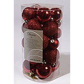 Shatterproof Mixed 30 Chrismas Baubles - RED - Various Sizes