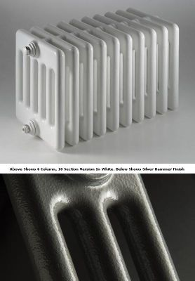 DQ Heating Peta 4 Column Designer Radiator - 492mm High x 1620mm Wide - 36 Sections - Silver Hammer
