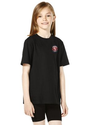 Unisex Embroidered School T-Shirt 5-6 years Black