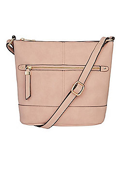F&F Grained Cross-Body Bucket Bag Pink One Size