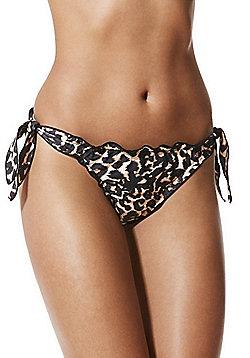 Vero Moda Leopard Print Side Tie Bikini Briefs - Black