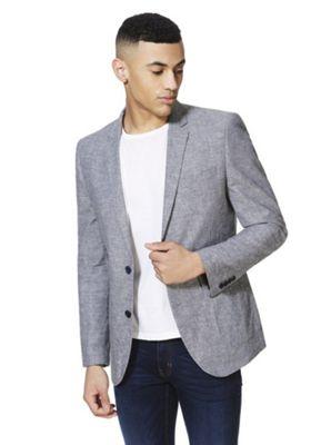 F&F Linen-Blend Chambray Regular Fit Blazer Jacket Blue 50 Chest long length