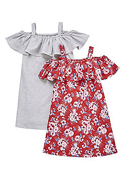 F&F 2 Pack of Floral Print and Plain Bardot Dresses - Red/Grey