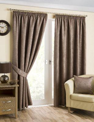 Hamilton McBride Belvedere Lined Pencil Pleat Mink Curtains - 46x54 Inches (117x137cm)