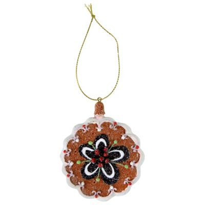 Gingerbread Cookie Christmas Tree Decoration with Flower