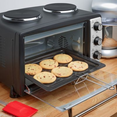 Andrew James Mini Oven with Grill & Double Hob Hot Plate - 24L - 2900W