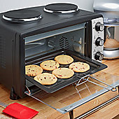 Andrew James Mini Oven and Grill with Double Hob - 24 Litre - 2900W