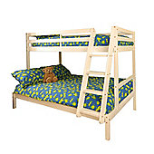 Comfy Living 3ft Single & 4ft Small Double Children's Eco Triple Bunk Bed in White with 2 Sprung Mattresses