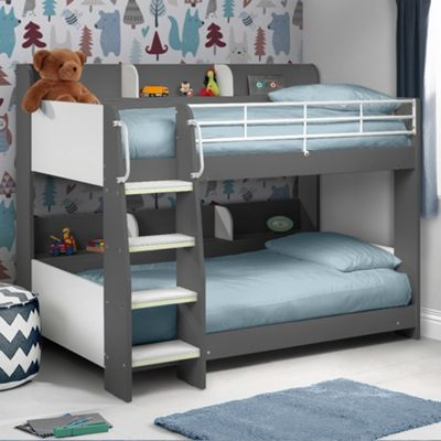 Happy Beds Domino Wood Kids Storage Bunk Bed with 2 Memory Foam Mattresses - Grey and White - 3ft Single