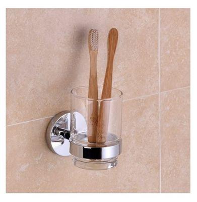 Sapphire Bathroom Glass Toothbrush Tumbler Holder - Chrome