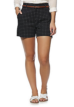 F&F Polka Dot Tailored Shorts with Belt - Black/White