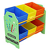 Kiddi Style Childrens Crayon Themed Wooden 6 Box Rack - Green