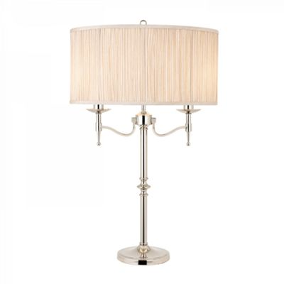 Table Light - Polished nickel plate & beige organza effect fabric