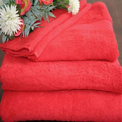 Homescapes Turkish Cotton Red Bath Towel Set