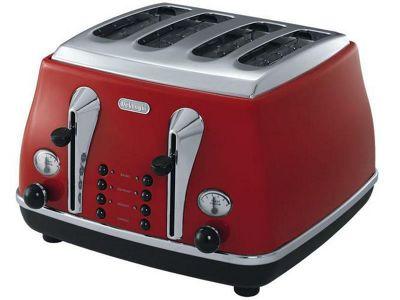 DeLonghi Icona CTO4003R 4-Slice Toaster - Red
