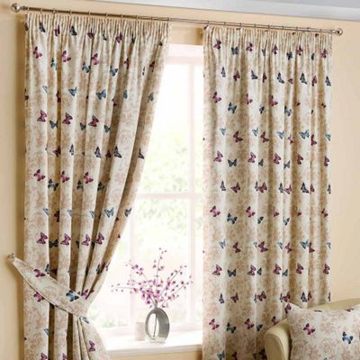 Homescapes Cotton Mauve Ready Made Curtain Pair Butterfly Design 66x72
