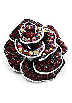 Romantic Vintage Dimensional Crystal Rose Brooch (Black&Red)