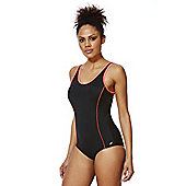 F&F Active Piping Detail Cross-Back Swimsuit - Black & Pink