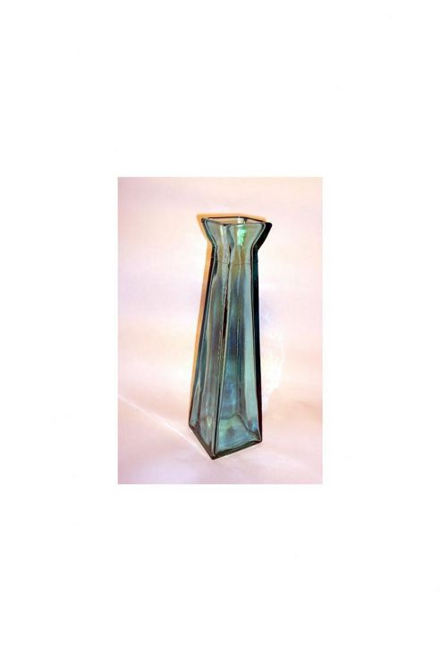 San Miguel Coloured Glass 45cm Pyramid Vase in Blue