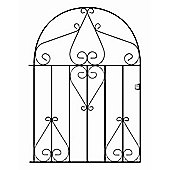 Wrought Iron Style Metal Scroll Low Bow Top Garden Gate 99cm GAP x 126cm HIGH