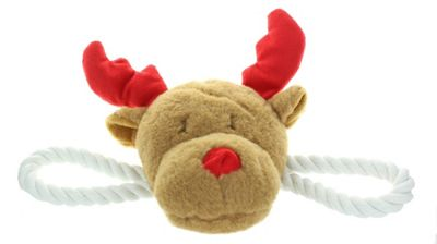 Crufts Christmas Squeaking Festive Reindeer Pet Dog Tug Toy