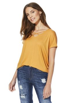 F&F Cross-Strap V-Neck Top - Mustard