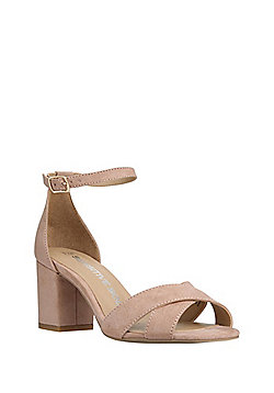 F&F Sensitive Sole Faux Suede Open Toe Sandals - Nude