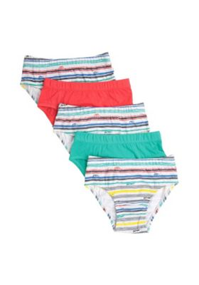 F&F 5 Pack of Striped and Bold Print Briefs Multi 3-4 years