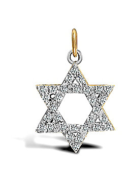Jewelco London 9ct Solid Gold medium weight Star of David Pendant hand-set with CZ stones