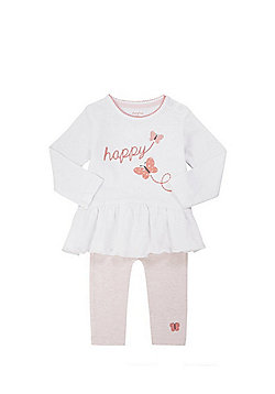 F&F Happy Applique Long Sleeve T-Shirt and Leggings Set - White & Pink