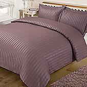 Dreamscene Satin Stripe Quilt Duvet Cover with Pillow Case Single Double King - Mauve