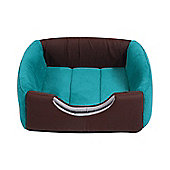 PawHut 2 in 1 Deluxe Cat Portable Pet Sofa Mat Bed Couch Cushion Kitten (Green)