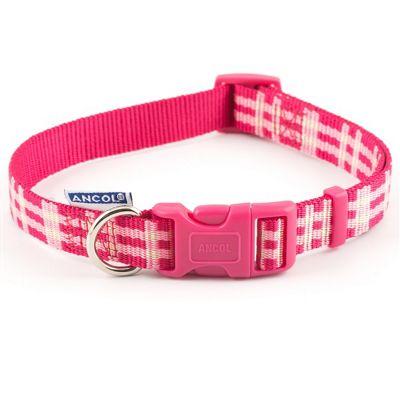 Ancol Candy Pink Check Adjustable Collar - 20cm-30cm