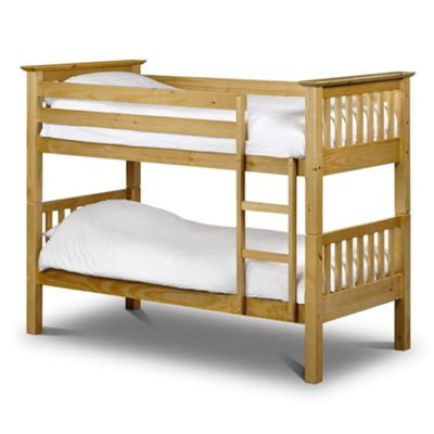 Happy Beds Barcelona Wood Kids Bunk Bed with 2 Open Coil Spring Mattresses - Antique Pine - 3ft Single