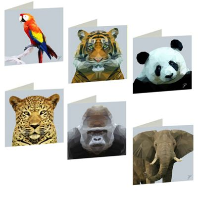 Birthday, Anniversary Greetings Card - Jungle Animal Design - Blank - Set of 6