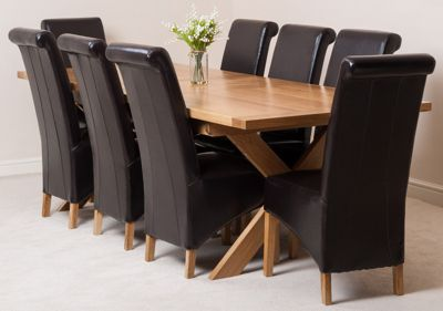 Vermont Solid Oak Extending 200 - 240 cm Dining Table with 8 Brown Montana Leather Chairs
