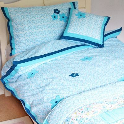 Blue Flower Cotton Children's Single Duvet Cover Set