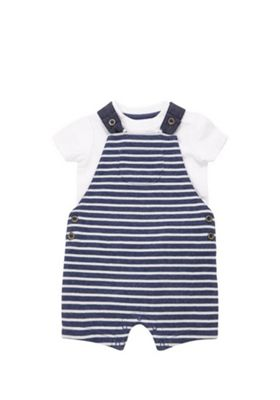 F&F Bodysuit and Striped Dungarees Set Blue/White 3-6 months