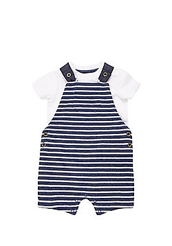F&F Bodysuit and Striped Dungarees Set - Blue/White