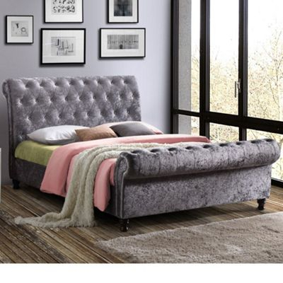Happy Beds Castello Crushed Velvet Fabric Scroll Sleigh Bed with Open Coil Spring Mattress - Steel - 4ft6 Double