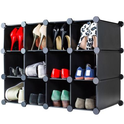 Andrew James Shoe and Boot Organiser - Flexible Storage with 12 Compartments - Black