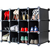 Andrew James Shoe Organiser - 12 Hole Shoe Rack in Black