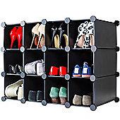 Andrew James Shoe Organiser - 12 Hole Shoe Rack in Black