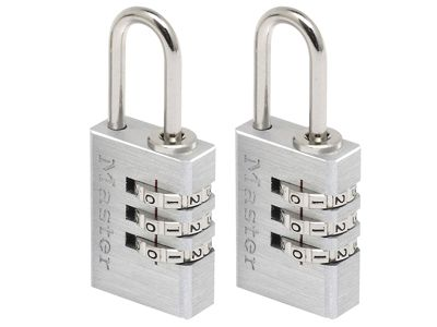Master Lock Aluminium 20mm 3-Digit Combination Padlock x 2