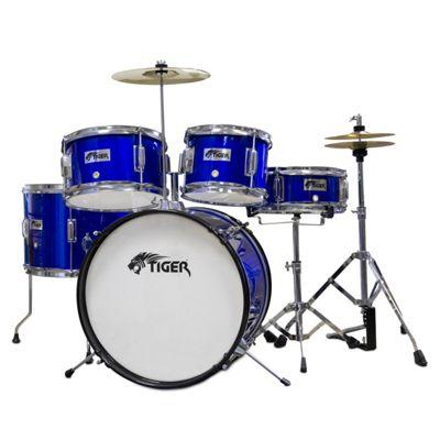 buy tiger 5 piece junior drum kit drum set for kids in blue from our all drums range tesco. Black Bedroom Furniture Sets. Home Design Ideas