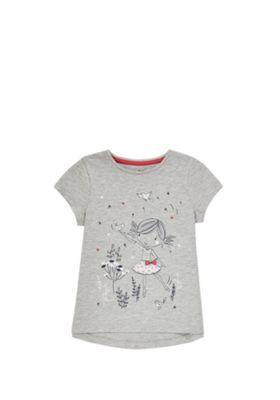 F&F Girl Print T-Shirt Grey 18-24 months