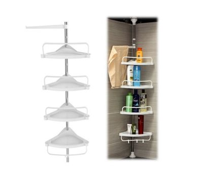 4 Tier Adjustable Shelf Bathroom Organiser Corner Shower Shelf Caddy Holder 70 cm - 245Cm