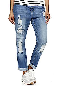 F&F Distressed Ankle Grazer Mid Rise Straight Leg Jeans - Mid wash