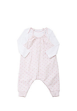 F&F Heart Print Slouch Dungaree and Pointelle Bodysuit Set - Multi