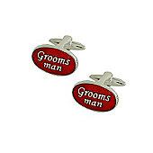 Red Enamel Groomsman Wedding Cufflinks